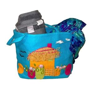 """Beach Tote 12""""x16"""" with Kitschy 3D Details"""